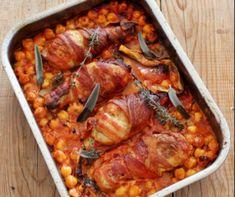 Csicseriborsós-paradicsomos csirkecomb Recept képpel - Mindmegette.hu - Receptek Bacon, Pork, Turkey, Pasta, Fish, Meat, Main Courses, Kale Stir Fry, Main Course Dishes