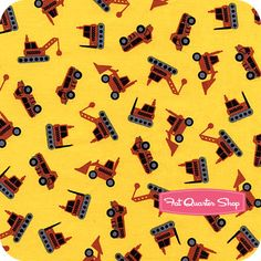 Timeless Treasures Yellow Tossed Tractors Yardage SKU# C9736-YELLOW - Fat Quarter Shop