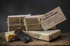 Minimal package for Bubble Works. It makes handmade and natural soaps.