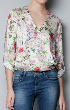 V-Neck Floral Blouse – Trendy Road - Like the colors of the flowers, pattern, V neck, 3/4 sleeves.