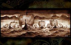 attaque de navire viking Wallpaper
