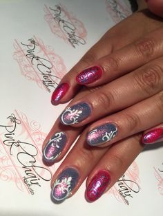 Almond/round nails pretty in pink and purple