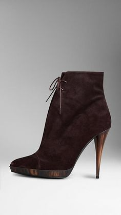 Burberry Suede Ankle Boots in Oxblood - -    Elegant suede ankle boots with wax-coated cotton laces. The 11.5cm/4.5in heel and platform feature a horn effect, inspired by the classic buttons on the Burberry trench coat.