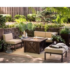 Outdoor - Coral Coast Bellagio Aluminum Sofa with Criss Cross Square Gas Fire Pit - You'll all love lounging about on the versatile and contemporary Coral Coast Bellagio 5 Piece Aluminum Sectional Sofa Set with Criss Cross Gas Fire Pi...