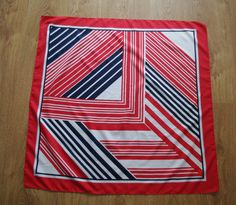 Excited to share the latest addition to my #etsy shop: Vintage Italian Retro Scarf striped scarf white blue red stripes Pin up bandana Made in Italy neck scarf neckerchief Mod Retro headscarf http://etsy.me/2DFhXM1