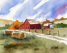 Warm Autumn country barn scenic landscape-Print by artworm on Etsy