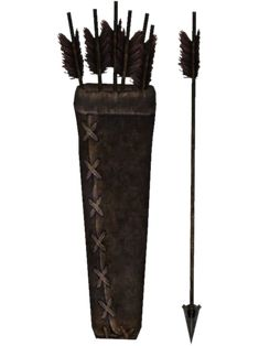 Iron Arrows are arrows found in The Elder Scrolls V: Skyrim. Iron arrows have wooden shafts, iron arrowheads and red fletchings. The quiver is made from crude leather. Elder Scrolls Skyrim, Skyrim Arrows, Bow Drawing, Arm Armor, Future Tattoos, Weapons, Illustration, Fandoms, Iron
