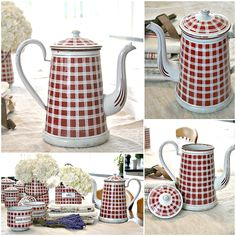 Antique French Enamelware Red & White Check Coffeepot