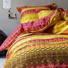 The Goa comforter set features a bright, chic Bohemian design that will give your bedroom a distinct worldly look. This set includes a comforter, pillow sham(s), and a bed skirt for an easy way to create a smart-looking ensemble. Pillow Shams, Pillows, Bohemian Design, Goa, Kitchen And Bath, Comforter Sets, Linen Bedding, Comforters, Blanket