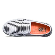 The Just Stripes Slip-On SF combines a classic low profile canvas silhouette with the Vans Surf SF build to create an upgraded, comfortable slip-on style with a collapsible heel. Made with water-based inks and glues, the Slip-On SF also features textile uppers with an allover stripe print, removable and washable UltraCush™ Eco footbeds, and classic rubber waffle outsoles updated with single-wrapped foxing tape for lightweight comfort.