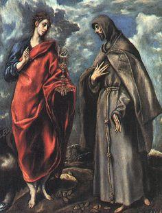 El Greco St John the Evangelist and St Francis , 1608 Oil on canvas 64 x 50 Spanish Painters, Spanish Artists, Francis Of Assisi, St Francis, San Juan Evangelista, St John The Evangelist, Catholic Art, Catholic Online, Catholic Saints
