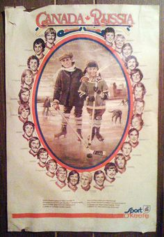 A classic O'Keefe Brewing Co. poster promoting the Canada-Russia hockey series of Photo by Jim Lambie. Hockey Teams, Ice Hockey, Jim Lambie, Hockey Posters, Hockey Boards, Summit Series, Canadian History, World Championship, Patriots