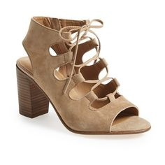 """Steve Madden 'Nilunda' Lace-Up Sandal, 3 1/4"""" heel ($100) ❤ liked on Polyvore featuring shoes, sandals, taupe suede, taupe sandals, high heel shoes, cutout sandals, high heel sandals and chunky shoes"""