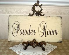 shabby chic powder room sign | POWDER ROOM bath shabby cottage vintage style sign by SignsByDiane