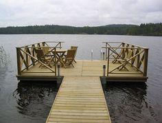 laituri Lake Dock, Boat Dock, Lake Landscaping, Deck Steps, Floating Dock, Small Ponds, Lake Cottage, Wooden Decks, Country House Plans