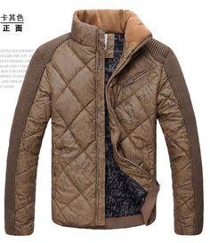 Men Cotton Stand Neck Zipper Slim Khaki Coat Clothing L/XL/XXL/XXXL@EH03728k