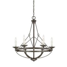 From The Epoque Collection, This Six-Light Chandelier Is Industrial Chic With Wire Suspension Cables And A Textured Antique Nickel Finish.