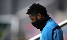 FC Barcelona's Alex Song arrives for a training session at the Sports Center FC Barcelona Joan Gamper in San Joan Despi, Spain, Saturday...