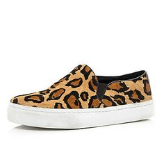 Brown leopard pony hair slip on trainers £45.00