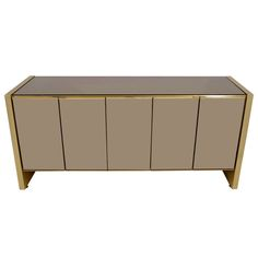 Brass and Bronzed Tinted Mirror Ello Credenza   From a unique collection of antique and modern credenzas at http://www.1stdibs.com/furniture/storage-case-pieces/credenzas/