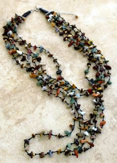 Multistrand Stone Necklace with Earthy Color by FrancaandNen #francaandnen