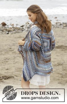 Pacific Best   - Crocheted square jacket with lace pattern. Sizes S - XXXL. The piece is worked in DROPS Big Delight. Free crochet pattern  DROPS 186-36