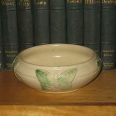 Peters and Reed Art & Crafts Pottery Bowl with Butterflies, Vintage ...
