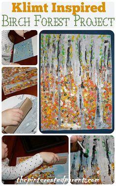 Gustav Klimt Birch Forest Inspired Craft Project - Artist Inspired Artwork