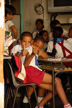 School- (Uniforms are mandatory) Uniforms in Cuban schools are assigned to each student, the uniforms are colored by grade