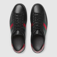 Shop the Black Leather Men's Ace Sneaker at GUCCI.COM. Enjoy Free Shipping and Complimentary Gift Wrapping.