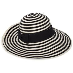 Sun Stripe Floppy Hat ($78) ❤ liked on Polyvore featuring accessories, hats, black, hair accessories, headwear, women, striped hat, black floppy hat, cotton hat и striped floppy hat