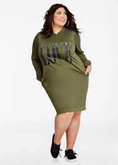 581d19522399ca Studded Love Hoodie Dress - Ashley Stewart Fashion To Figure
