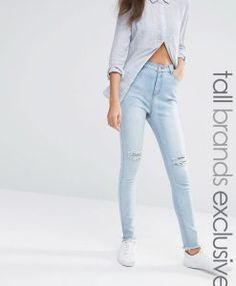 Liquor & Poker Tall Acid Wash Knee Rip Super Skinny Jeans - Blue. Tall Clothing for tall men and tall women at PrettyLong.com