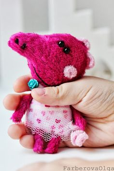 Teddy Peppa Pig -  brooch by Farberova Olga, Brooch animal.