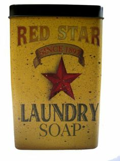 """Tin - Red Star Laundry Soap - Primitve Country Rustic Vintage Look Advertising by OWIO. $14.95. Measures:  7 1/2"""" x 4 3/4"""" x 2 3/4"""". Vintage looking laundry soap advertising tin. It is BRAND NEW and made of metal. It measures 7.5"""" tall x 4.75"""" wide x 2.75"""" deep and has a removable lid. The front reads """"RED STAR - SINCE 1897 - LAUNDRY SOAP"""" and features a five pointed star in the center. The left side reads """"NEW & IMPROVED - NET WEIGHT 32 OZ"""". The right side reads """"LAUNDRY SO..."""
