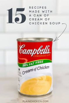 15 Recipes Made with a can of Cream of Chicken Soup - easy recipes made with pantry staples. Pork, beef, and chicken. All of the recipes are super easy to make and use everyday ingredients. I& sure you have most, if not all, of them all in the house now. Cream Of Celery Soup, Cream Of Chicken Soup, Crack Chicken, How To Cook Chicken, Cream Of Chicken Gravy Recipe, Chicken Roll Ups, Chicken Curry, Crack Potatoes, Baked Potatoes