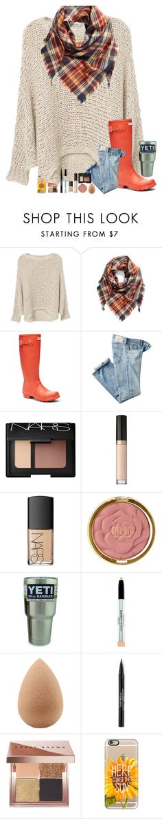 """""""When it feels so good"""" by simply-makayla ❤ liked on Polyvore featuring MANGO, BP., Hunter, AG Adriano Goldschmied, NARS Cosmetics, Too Faced Cosmetics, Milani, beautyblender, Trish McEvoy and Bobbi Brown Cosmetics"""