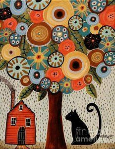 Folk Art Abstract Painting - Home Sweet Home by Karla Gerard