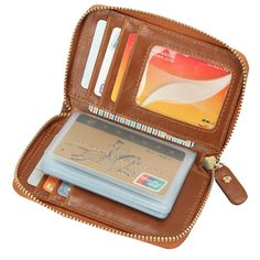733a07964e7 Retro Zipper Card Holder PU Leather Business 22 Name Card Case Portable  Short Wallet Worldwide delivery