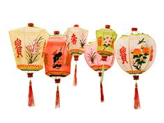 Chinese hand painted gauze lanterns.