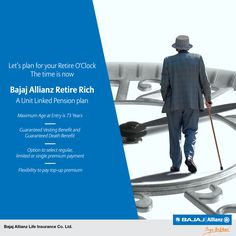Say goodbye to tension and say hello to pension. Bajaj Allianz Retire Rich, a unit linked pension plan that helps you plan for the best days of your life. #JiyoBefikar