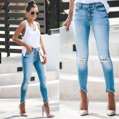Kancan 27 Light Wash Skinny Jean on Mercari Skinny Jeans Heels, Jeans With Heels, Light Wash Skinny Jeans, Super Skinny Jeans, Diy Distressed Jeans, Cute Ripped Jeans, Ripped Jeans Outfit, Best Jeans For Women, Summer Fashion Outfits