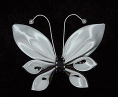 kanzashi butterfly, made of ribbon, handmade hairbow, attached a french barrette