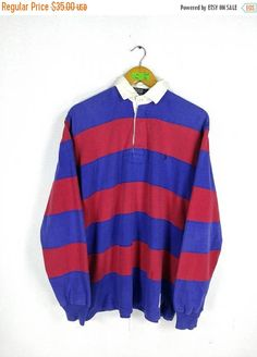 fe4863e49 Vintage POLO RALPH LAUREN Shirt Mens Medium Ralph Lauren 90 s Stripes Blue  Red Hip Hop P Wing Stadium Polo Rugby Longsleeve Shirt Size M