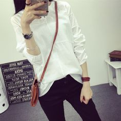 Korean style women shirt fashion V-neck long tops white shirts female show thin long-sleeved women blouses plus size XXL plaid