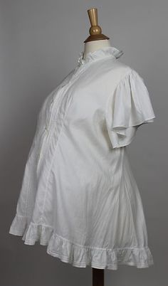 Antique Maternity Top in White Cotton with Ruffles and Tucks Button Down Front   www.SarahElizabethGallery.com