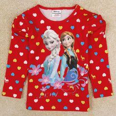 frozen t shirt for baby girls clothing children long sleeve printed anna frozen shirt spring autumn nova kids girl clothes $12.43