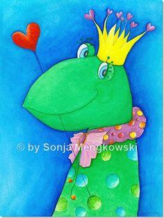 Bilder für Kinder, und Große. Motiv: Liebesbote mit Herz, Froschkönig, - King Noel - aus der Serie: Märchenbilder, Geschenk zur Geburt, Taufe oder für Verliebte.