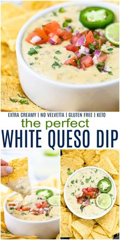 Dip Recipes 31947478595167390 - Learn how to make the Perfect Creamy White Queso Dip Recipe from scratch. This Easy Queso Dip uses real cheese, I guarantee you'll never go back to using velvetta again! Perfect for game day or any party! Source by jheats Nacho Dip, Keto, Paleo, White Queso Dip Recipe, Mexican Queso Recipe, Homemade Queso Recipe, Snacks Für Die Party, Party Dips, Pico De Gallo