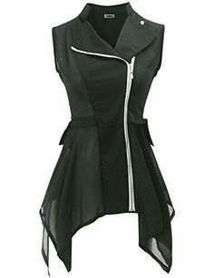 Misaki, Future Punk Trend Spotter Black Chiffon Vest --- Chiffon Vest: Coolest Outerwear EVER Punk Trends, Daily Fashion, Fashion Tips, Fashion Design, Fashion Brands, Style Fashion, Fashion Online, High Fashion, Fashion Ideas
